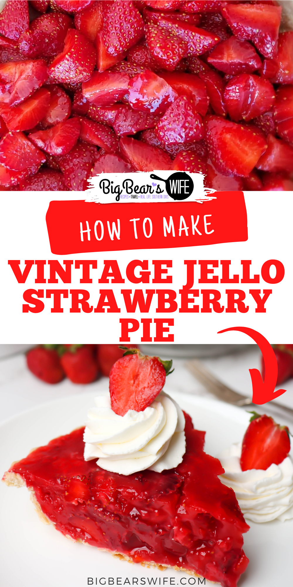 This easy Vintage Jello Strawberry Pie is the perfect dessert to make with all of those fresh summer strawberries! This pie reminded me of the Shoney'sStrawberry Pie that we use to get as kids! via @bigbearswife