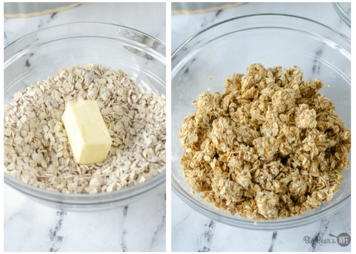 adding butter to dry ingredients for Homemade Strawberry Cobbler and mixing to form topping