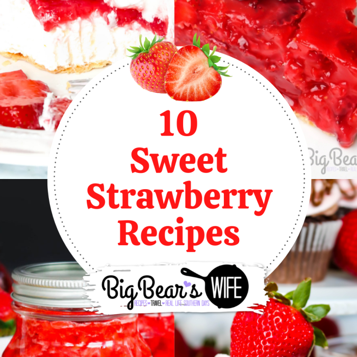Summer weather is here which means it is time for tons of strawberry recipes! Here you'll find 10 sweet strawberry recipes that are perfect for those ripe summer strawberries!