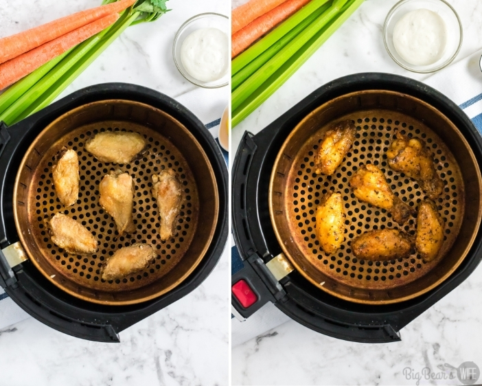 Adding sauce to the HOT AND HONEY AIR FRYER WINGS