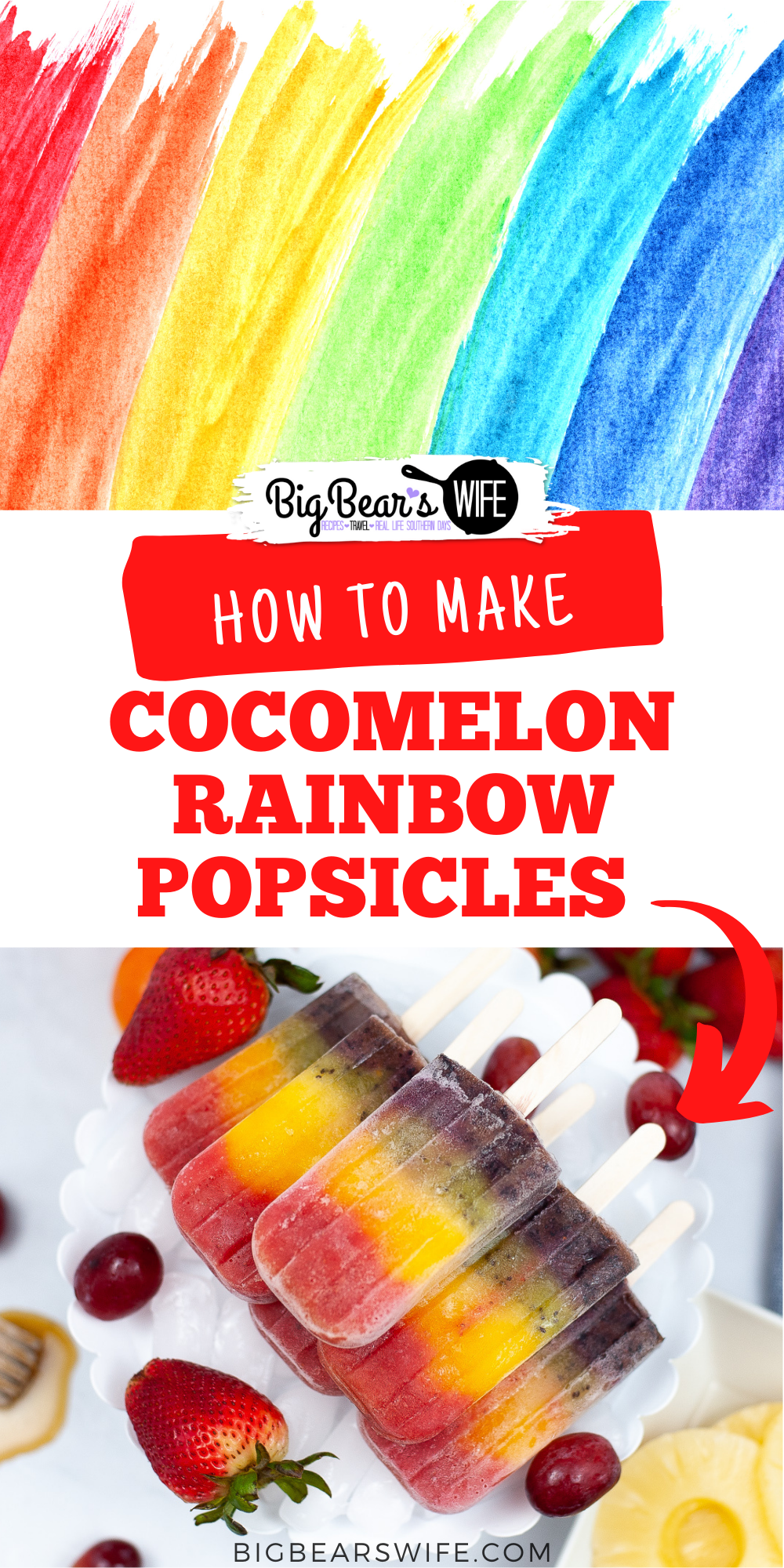 Perfect for summer and packed full of fruit, this Rainbow Popsicles Recipe makes the most beautiful popsicles that are all different colors! via @bigbearswife