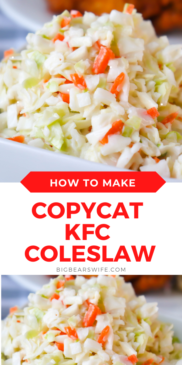Love KFC Coleslaw? This Copycat KFC Coleslaw recipe is my favorite version and is great for cookouts and family dinners!   via @bigbearswife