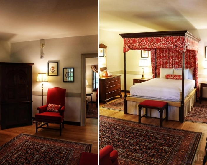 Red and white bedroom in the George Jackson house