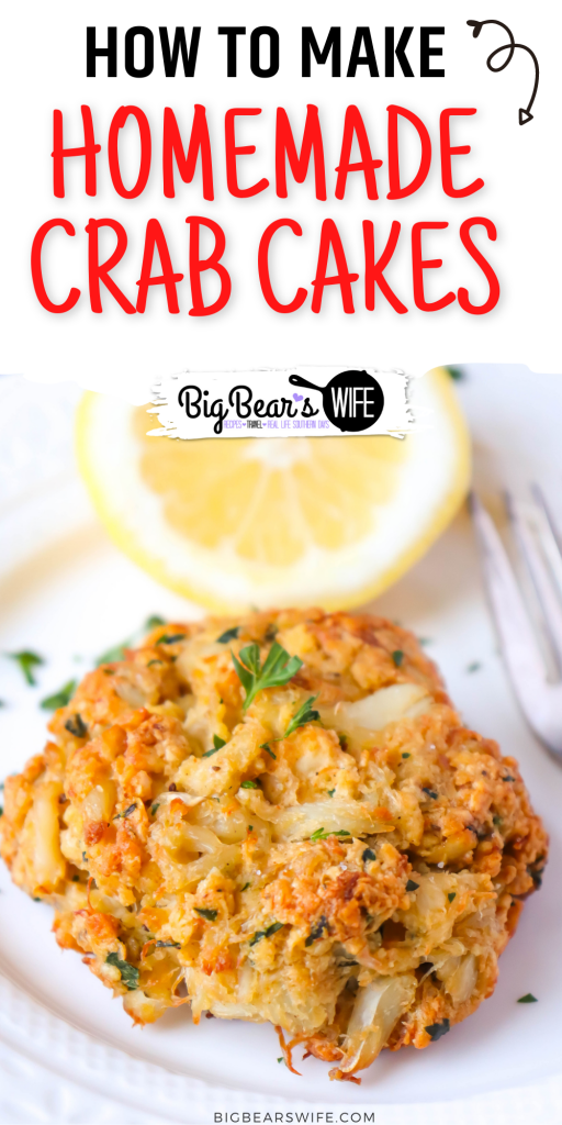 These easy to make Homemade Crab Cakes are made with real crab meat, Old Bay Seasoning and mayo with a few other ingredients tossed in! These Crab cakes have more crab and less filler than other crab cakes!