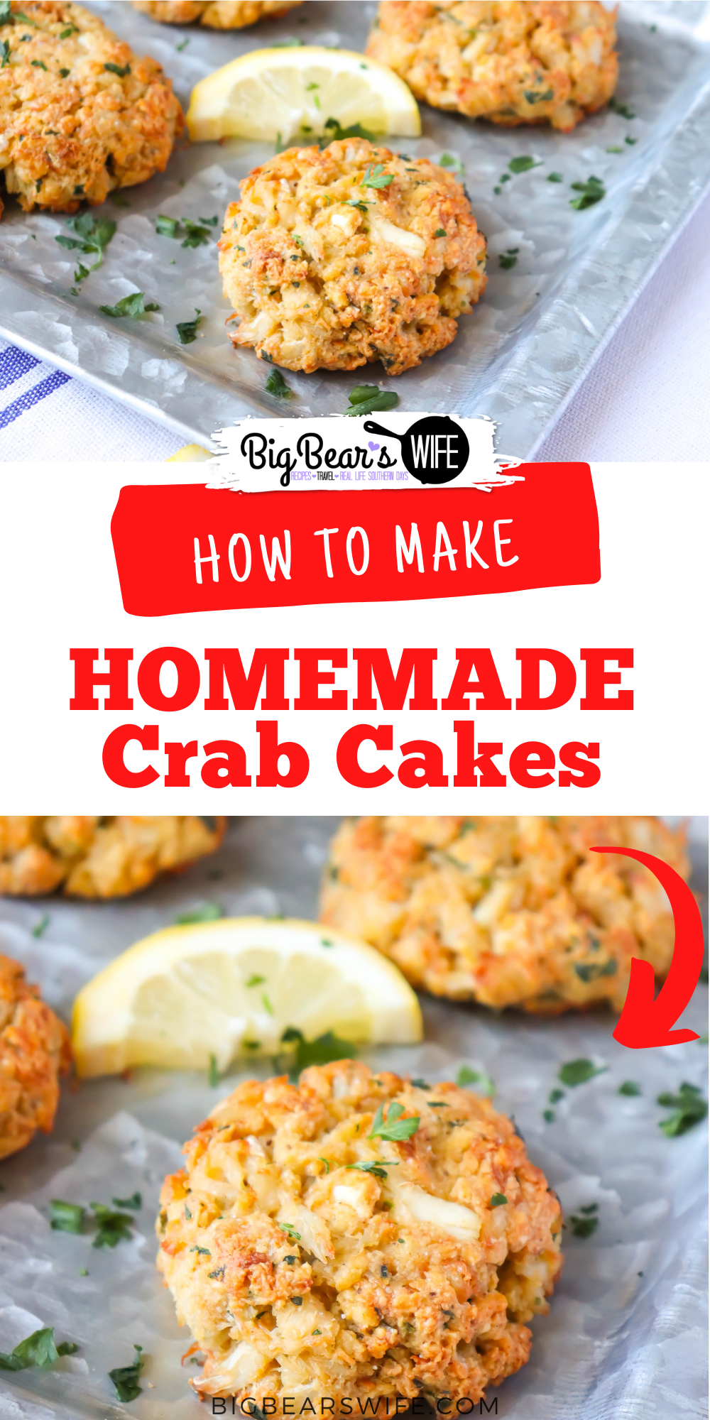 These easy to make Homemade Crab Cakes are made with real crab meat, Old Bay Seasoning and mayo with a few other ingredients tossed in! These Crab cakes have more crab and less filler than other crab cakes! via @bigbearswife