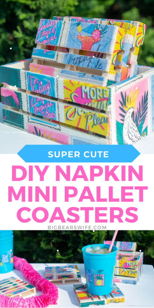 These adorable Dollar Tree Tropical DIY Napkin Mini Pallet Coasters are perfect for summer and super cute for the patio or beside the pool! They're made using napkins, mod podge and mini wooden pallets from Dollar Tree! This step by step photo tutorial will show you exactly how to make Napkin Mini Pallet Coasters