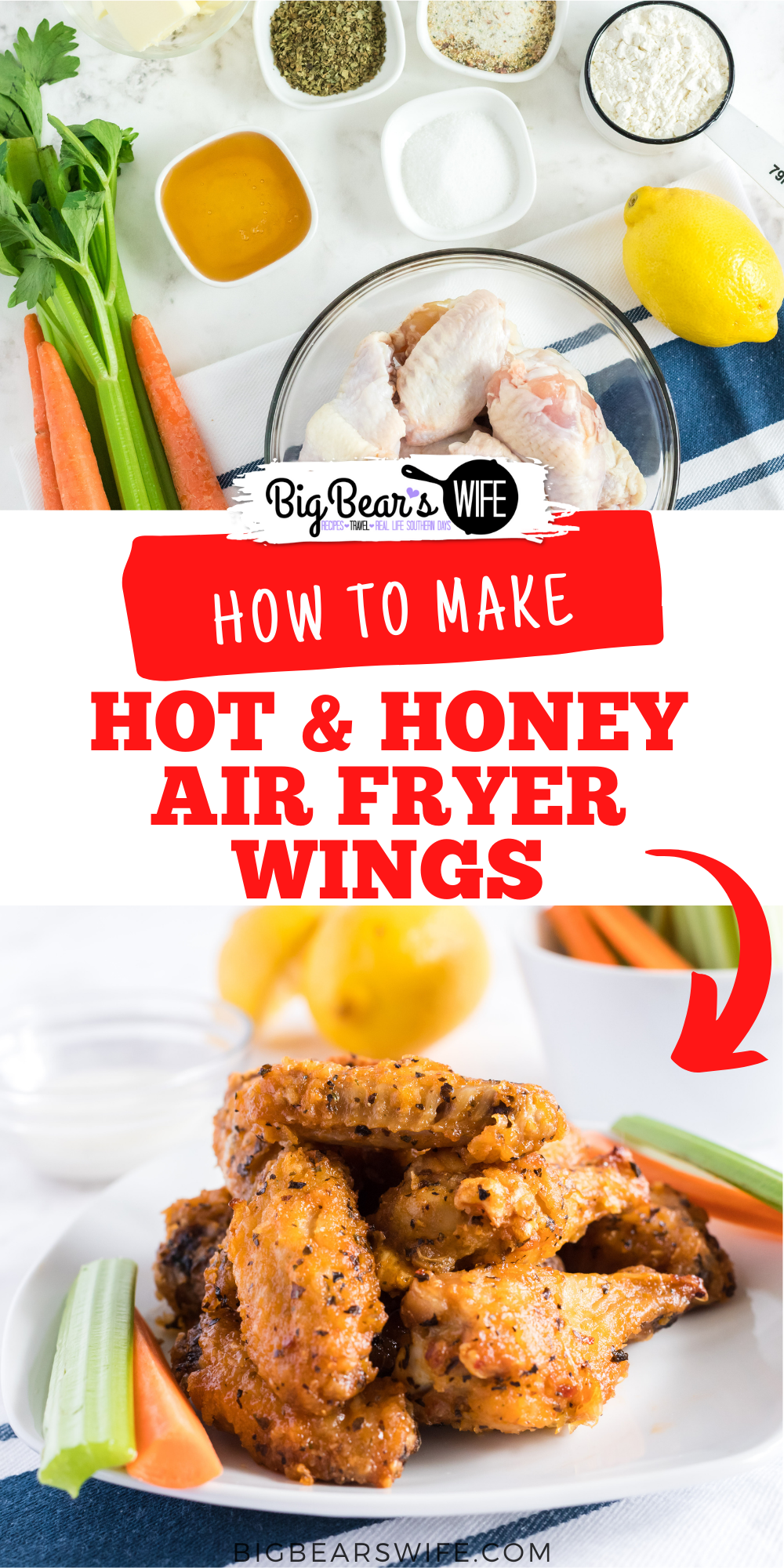 Chicken wings and air fryers are the perfect combination! These Hot Honey Air Fryer Wings cook up in about 30 minutes and are coated in a homemade hot honey sauce! Perfect for lunch, dinner or as an appetizer for game day! via @bigbearswife