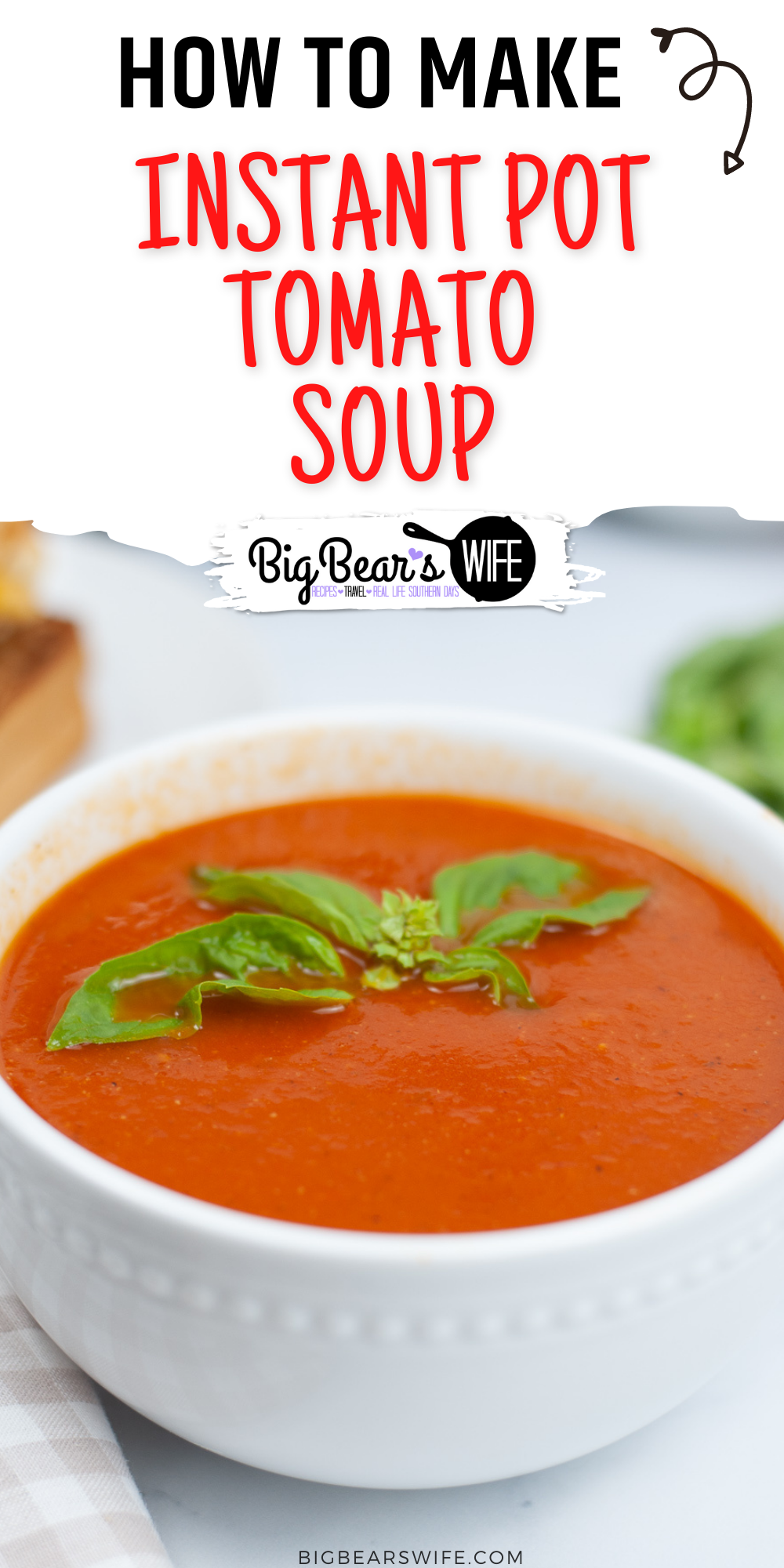This Instant Pot Tomato Soup recipe is a great soup to make in the Instant Pot and only takes about 45 minutes to come together for a great lunch or dinner! Perfect to serve with grilled cheese sandwiches!  via @bigbearswife
