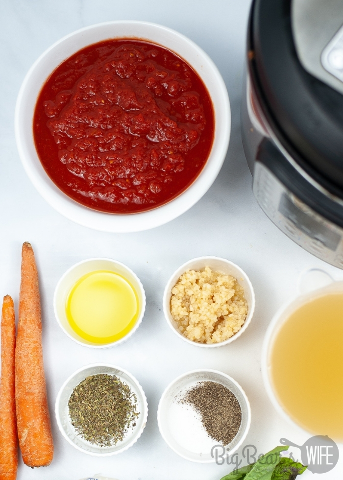 Ingredients for INSTANT POT TOMATO SOUP