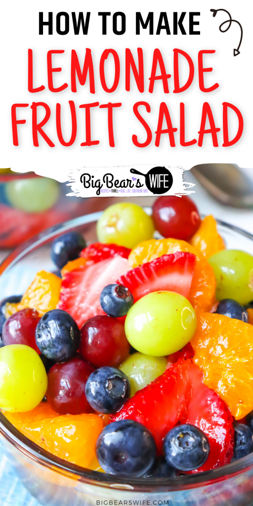 This easy Lemonade Fruit salad is made with fresh fruit and frozen lemonade, for that perfect summer fruit salad!