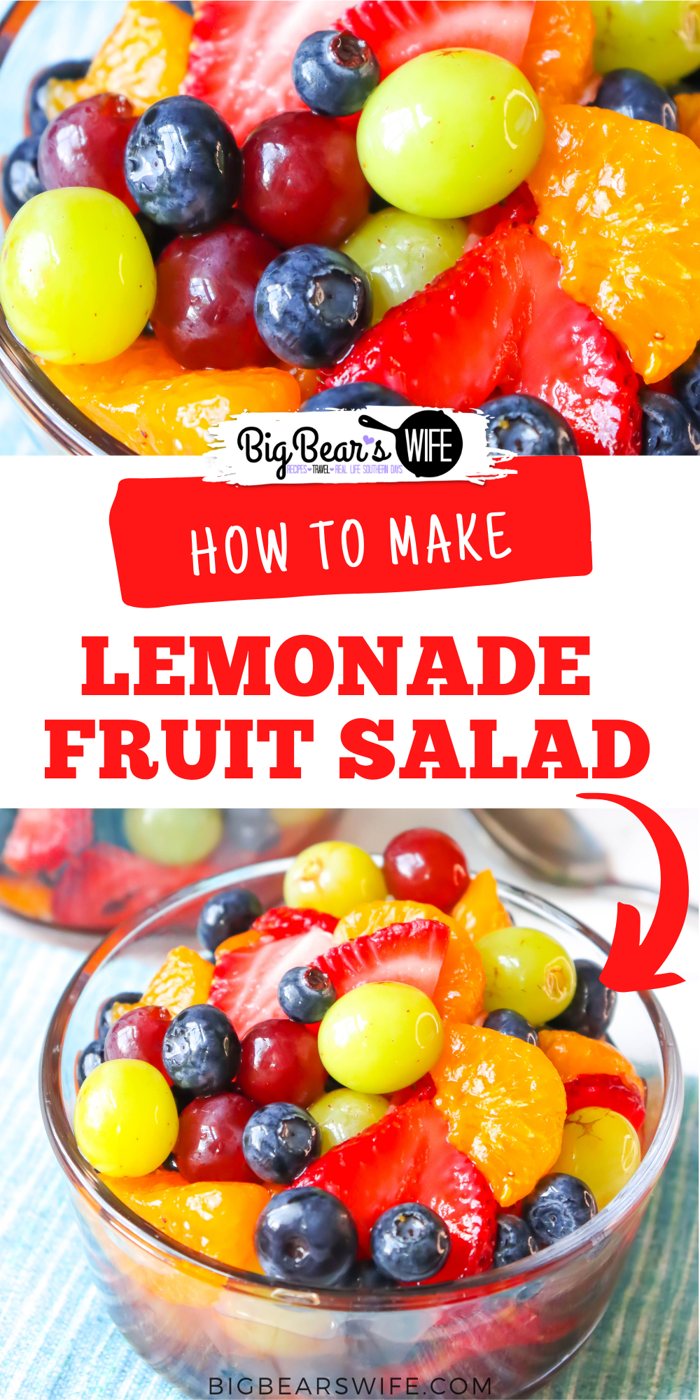 This easy Lemonade Fruit salad is made with fresh fruit and frozen lemonade, for that perfect summer fruit salad!  via @bigbearswife