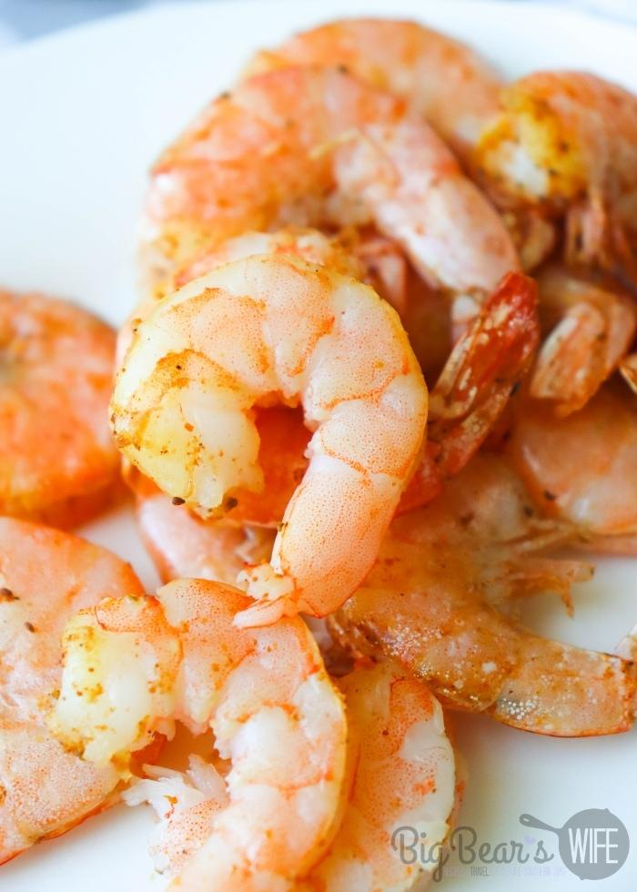 peeled shrimp on a white plate