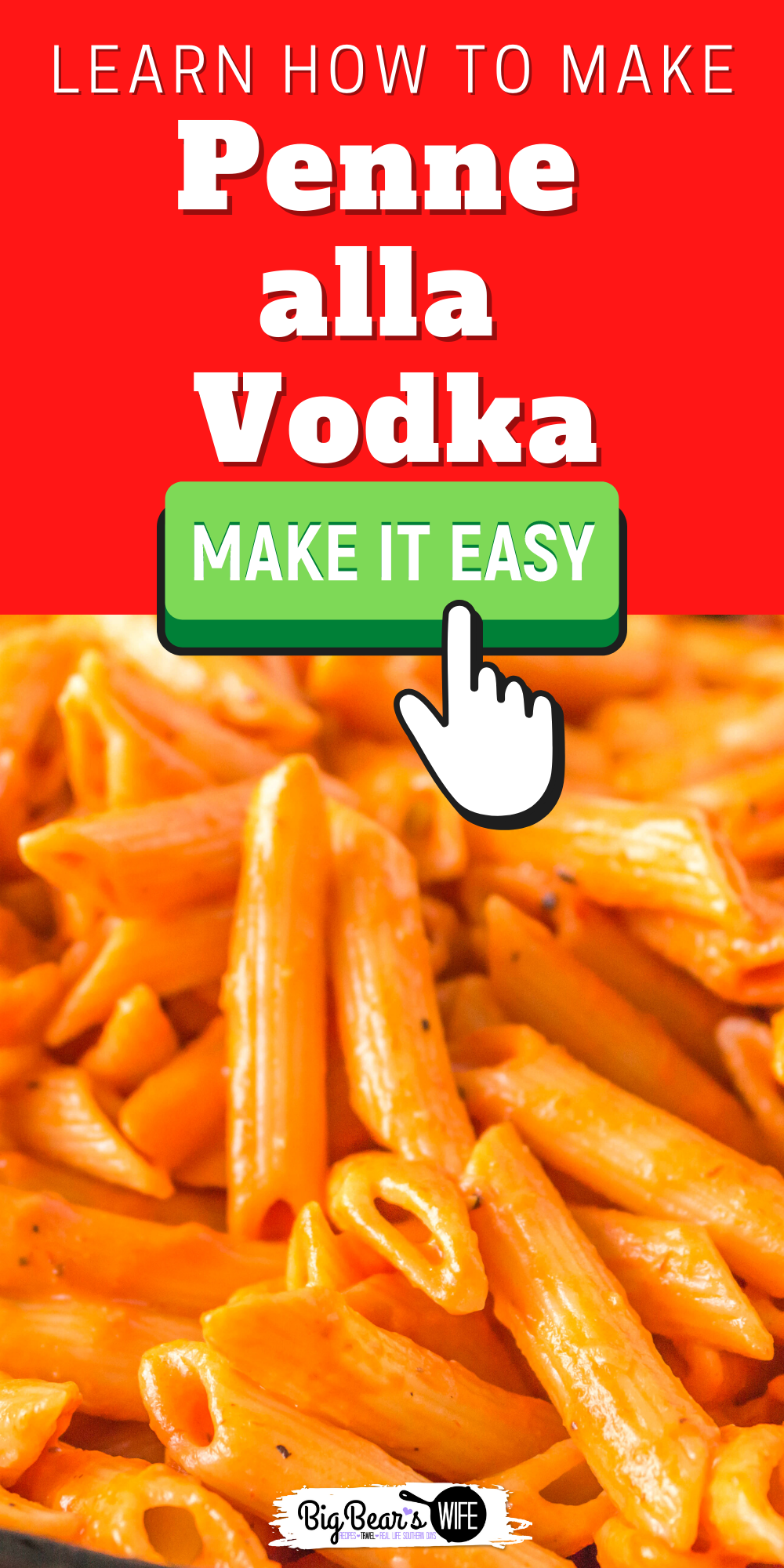 This Penne alla Vodka recipe is ready in under 30 minutes with perfectly cooked penne pasta, a creamy homemade tomato vodka sauce and fresh parmesan cheese. Not a fan of vodka? No problem! We can change it out for chicken broth!  via @bigbearswife