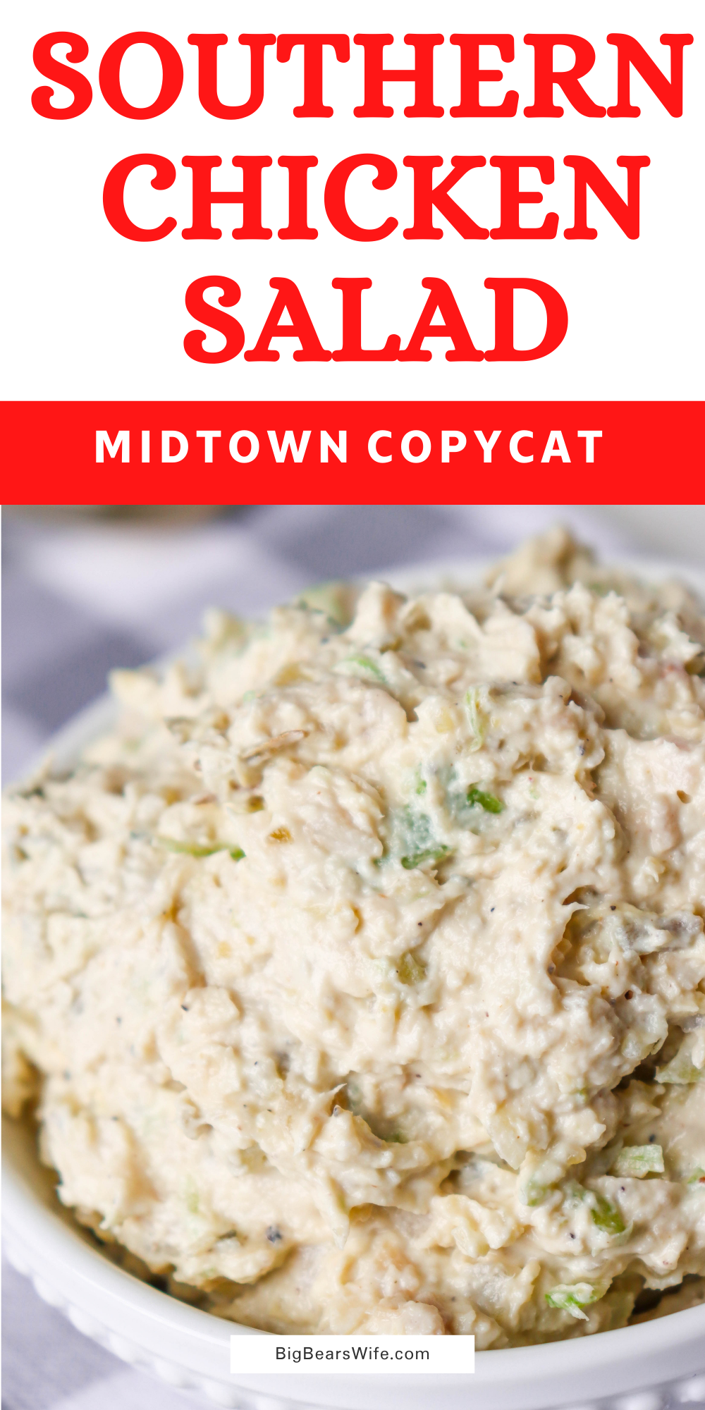 This Southern Chicken Salad Recipe is great for Chicken Salad Sandwiches or as a spread for crackers. My Southern Chicken Salad Recipe is my copycat version of the famous Midtown Market Chicken Salad!  via @bigbearswife