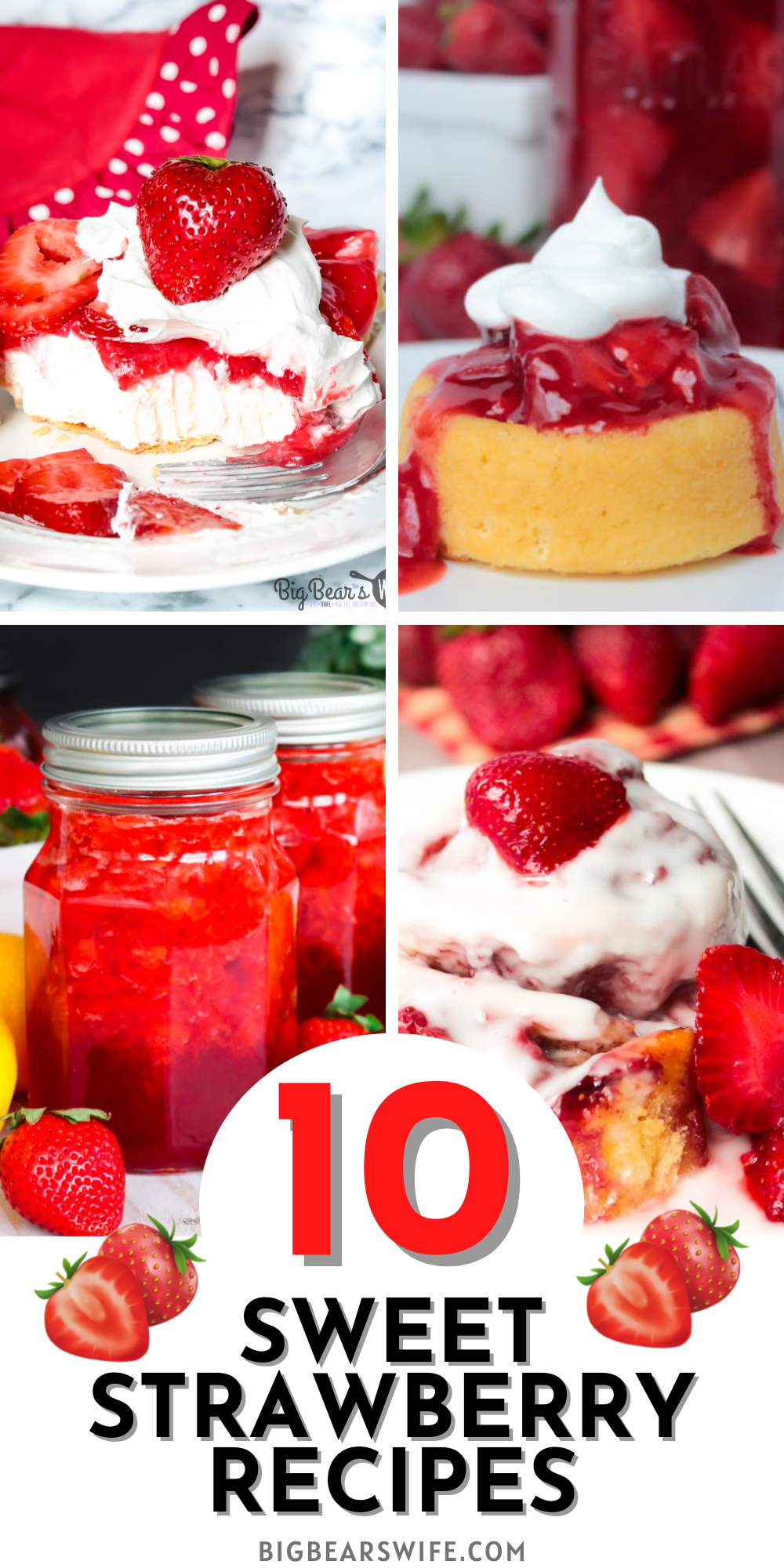 Summer weather is here which means it is time for tons of strawberry recipes! Here you'll find 10 sweet strawberry recipes that are perfect for those ripe summer strawberries! via @bigbearswife