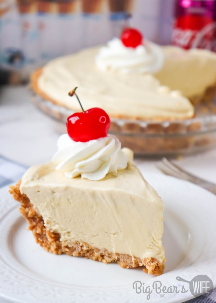 Slice of Cherry Coke Float Pie on White plate