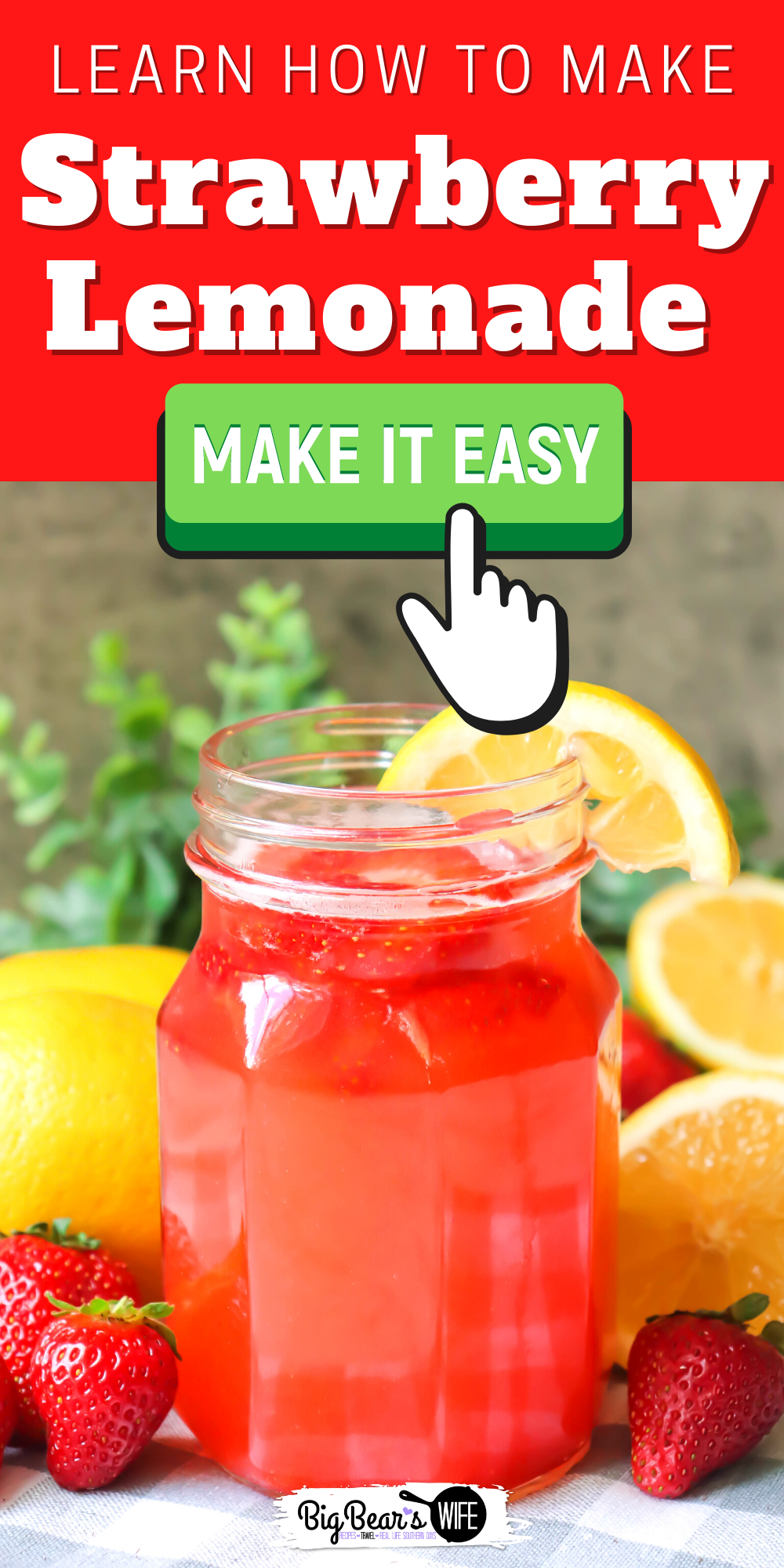 Ready for the perfect summer drink? This Strawberry Lemonade is refreshing and easy to make!  via @bigbearswife