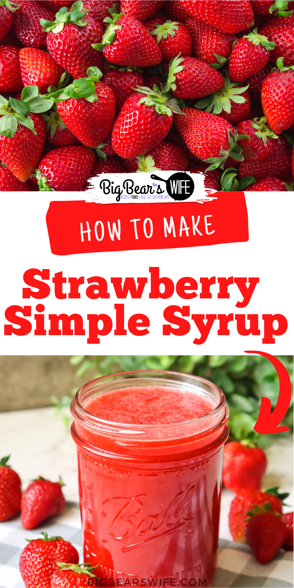 This This 3-ingredient homemade Strawberry Simple Syrup is great for Strawberry Lemonade and homemade summer cocktails and/or mocktails! via @bigbearswife