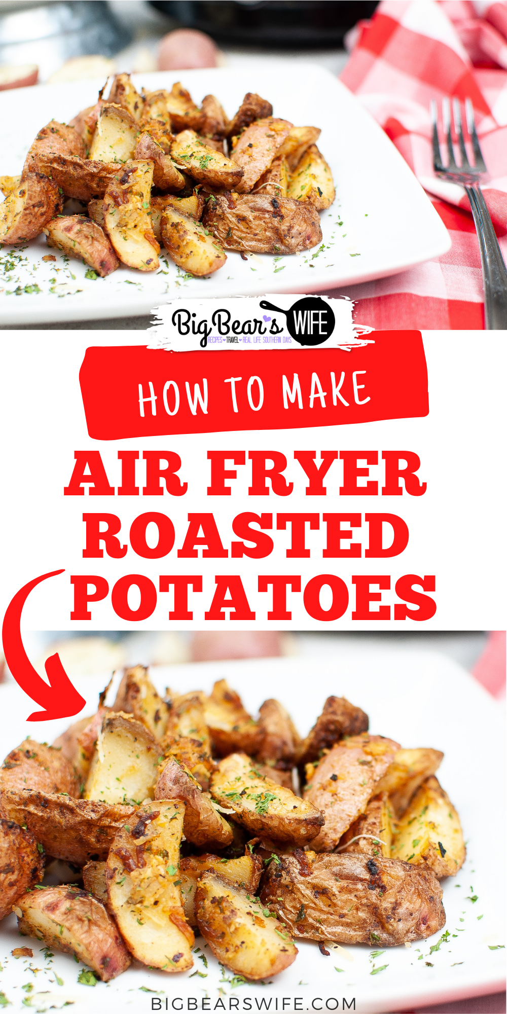 These crispy Air Fryer Roasted Potatoes take about 15 minutes to roast in the air fryer and make the perfect side dish!  via @bigbearswife