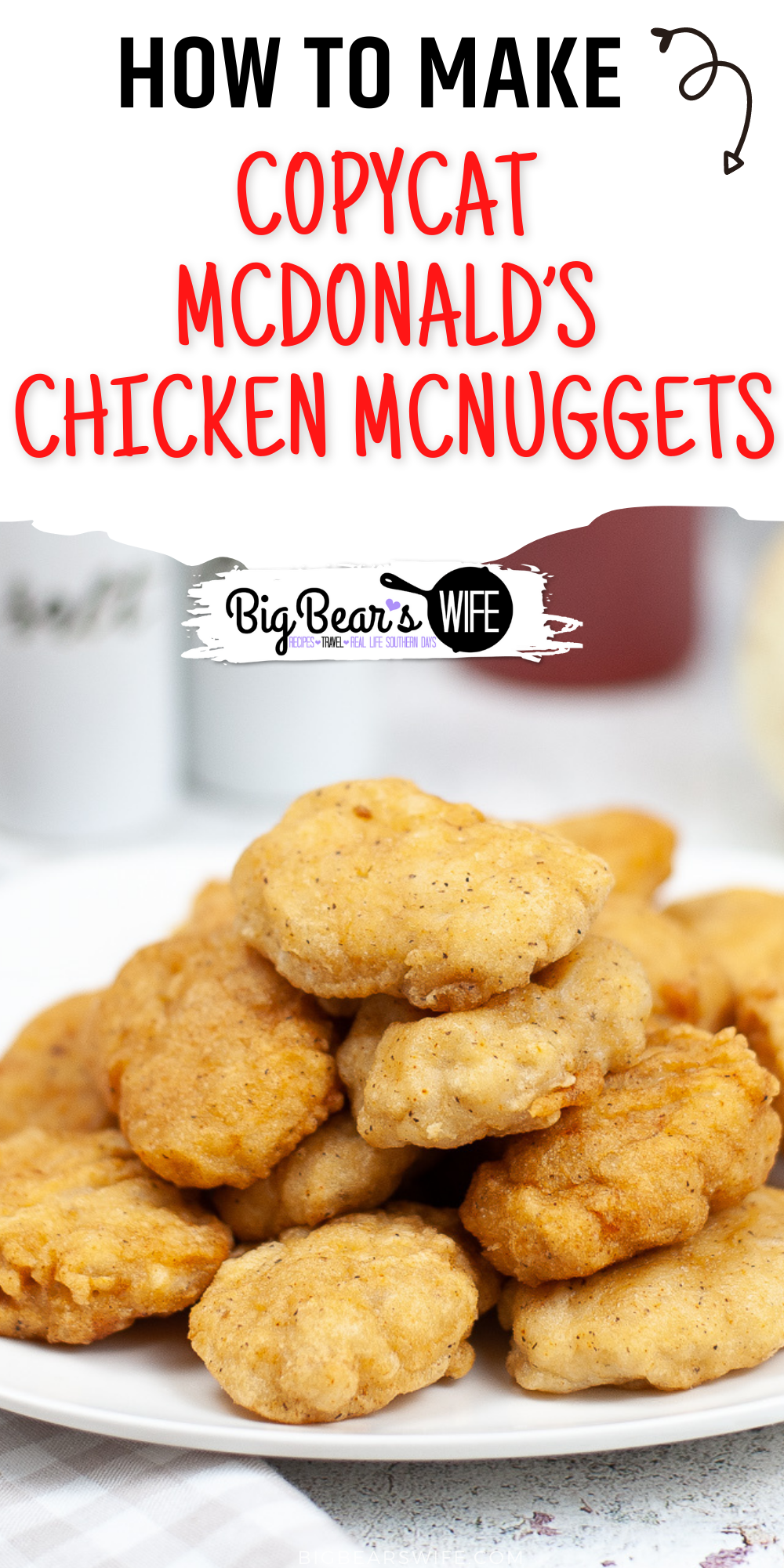 If your kids love McDonald's Chicken McNuggets but you want to make more meals at home, you're going to love this recipe for Copycat McDonald's Chicken McNuggets! via @bigbearswife