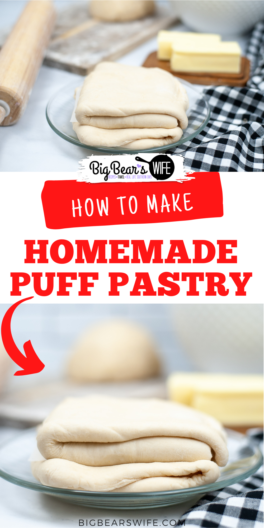 Love making recipes with frozen puff pastry but want to try your hand at making it from scratch? Let me show you How to make Homemade Puff Pastry at home with flour, salt, butter and water! via @bigbearswife