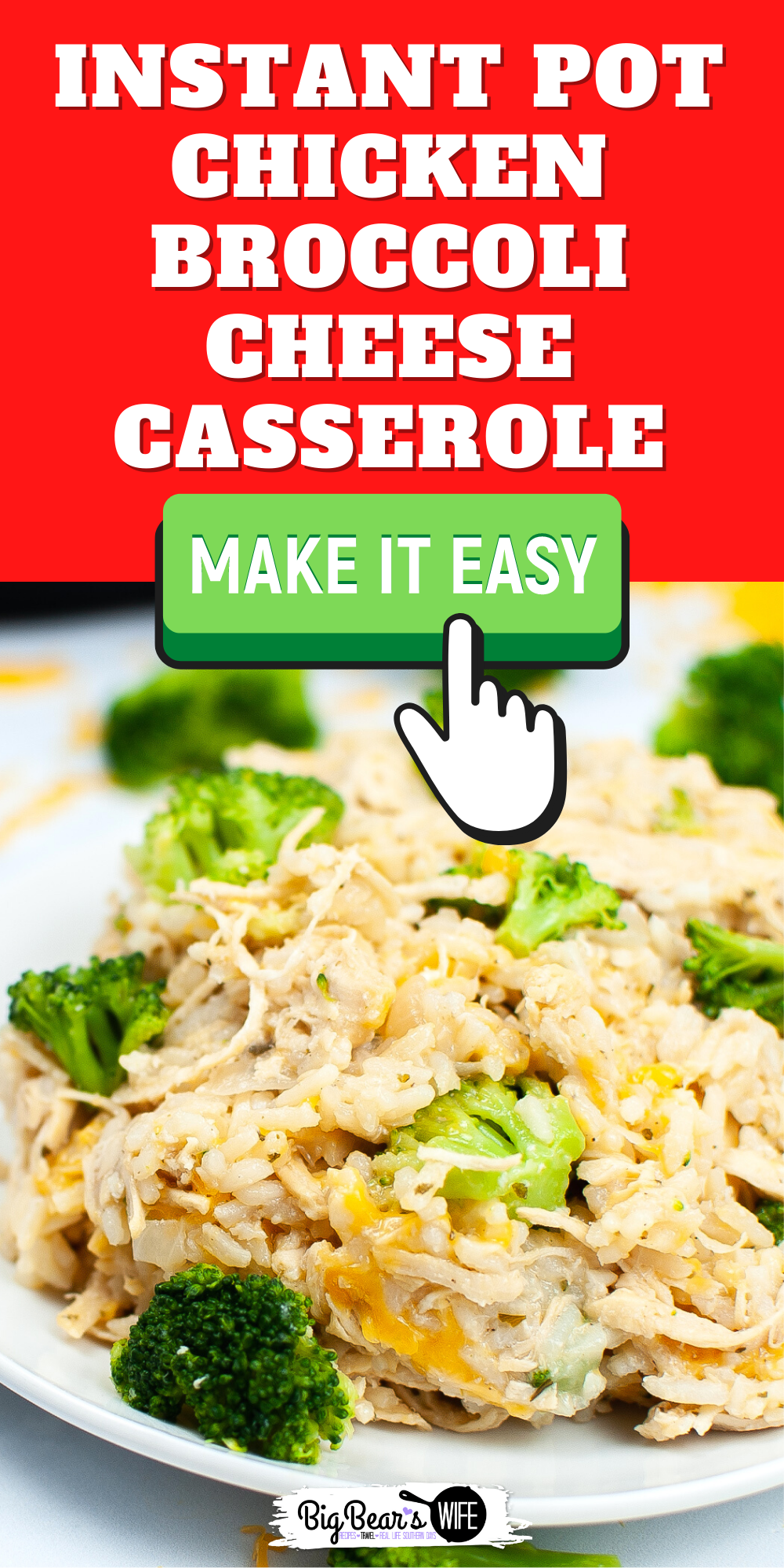 Make a homemade Instant Pot Chicken Broccoli Cheese Casserole in your instant pot for a one pot, family favorite meal that is easy on time and budget.  via @bigbearswife