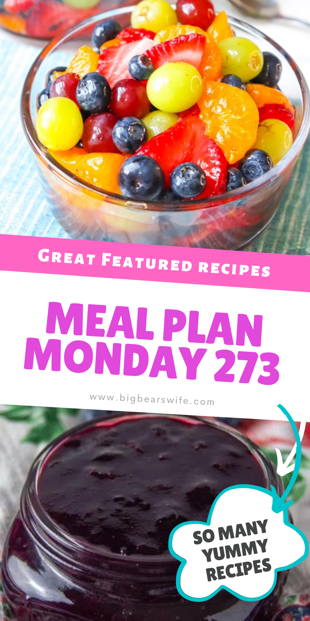 Welcome to this week's Meal Plan Monday! We're featuring some amazing recipes from last week's Meal Plan Monday, like Blueberry Jam Recipe Without Pectin from Momma Lew, Banana Bread French Toast from The Happy Mustard Seed, How to Make Grilled Venison (Deer Meat) Burgers from Grits and Gouda, Pasta Salad with Pepperoni from 4 Sons R Us and Lemonade Fruit Salad from BigBearsWife! via @bigbearswife