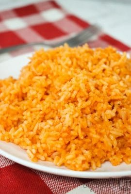Homemade Mexican Rice on a white plate