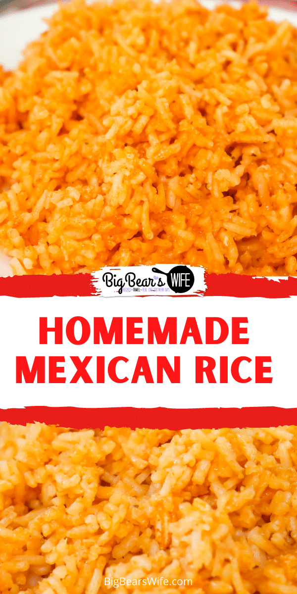 Homemade Mexican rice is so easy to make and taste just like the rice from the Mexican restaurants! You'll love this homemade version that is perfect for serving with enchiladas, tacos, chicken, shrimp or just with a side of queso!  via @bigbearswife