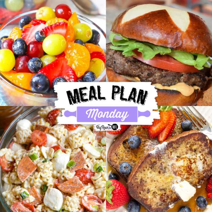 Welcome to this week's Meal Plan Monday! We're featuring some amazing recipes from last week's Meal Plan Monday, like Blueberry Jam Recipe Without Pectin from Momma Lew, Banana Bread French Toast from The Happy Mustard Seed, How to Make Grilled Venison (Deer Meat) Burgers from Grits and Gouda, Pasta Salad with Pepperoni from 4 Sons R Us and Lemonade Fruit Salad from BigBearsWife!