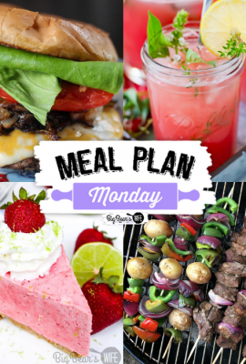 Welcome to this week's Meal Plan Monday! We have lots of great recipes for you! Featuring recipes like 3-Ingredient Keto Coconut Macaroons from Keto Millenial, Blackstone Smashburgers from Jen Around the World, Watermelon Thyme Lemonade from Flour on my Face, BEST Beef Kabob Marinade Recipe from Must Have Mom and Strawberry Margarita Pie from Big Bear's Wife