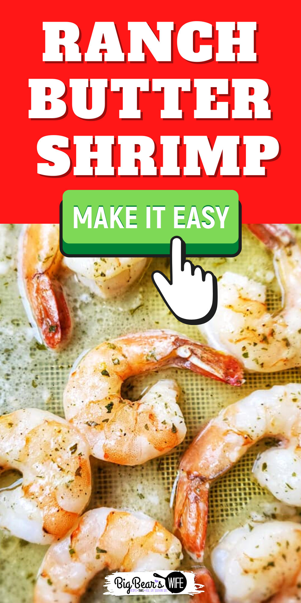 Ranch Butter Shrimp is a super quick dish that takes less than 15 minutes to make with only 3 ingredients! You're going to go crazy over how easy this shrimp recipe is!  via @bigbearswife