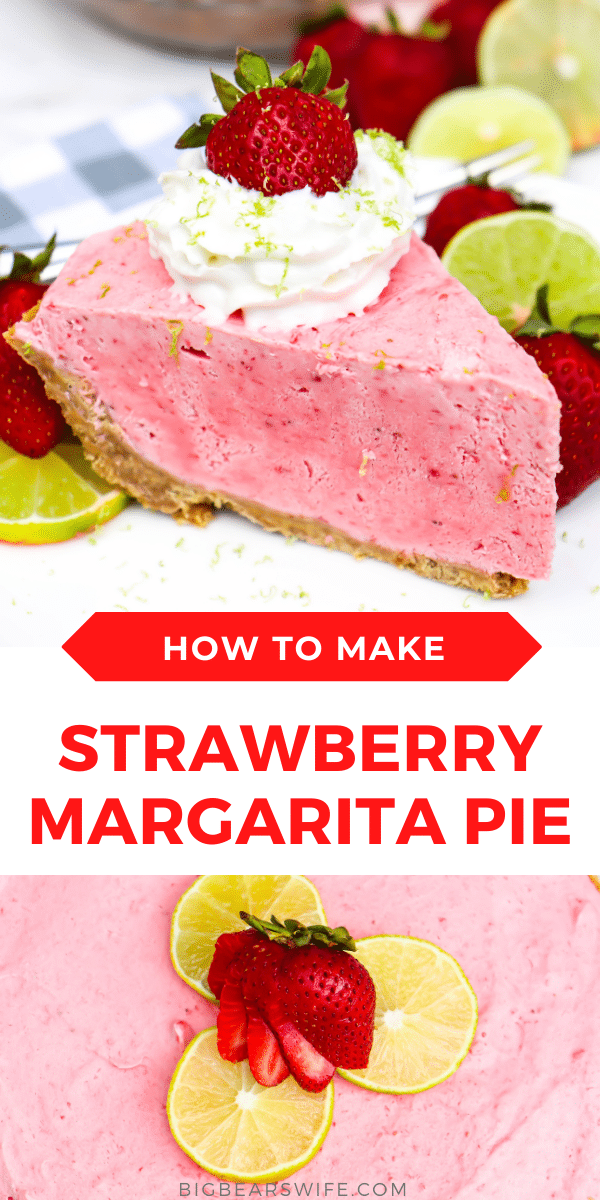 Need a treat to cool you down? Try this easy Strawberry Margarita Pie. A homemade no-bake dessert with all the flavors of a frozen strawberry margarita (without the hangover).  via @bigbearswife