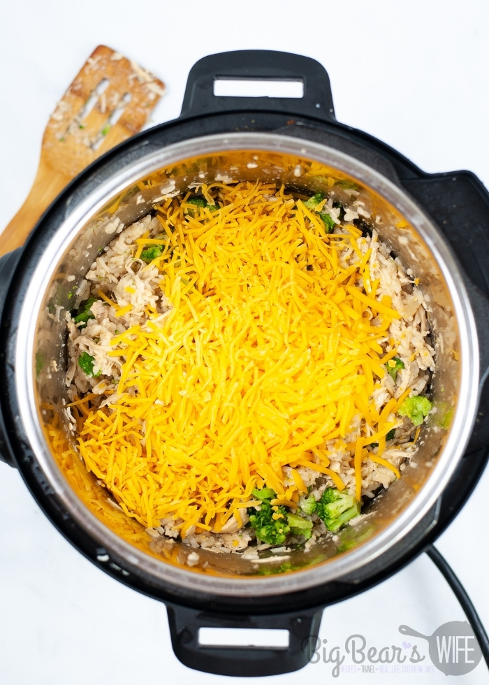 adding cheese to the instant pot