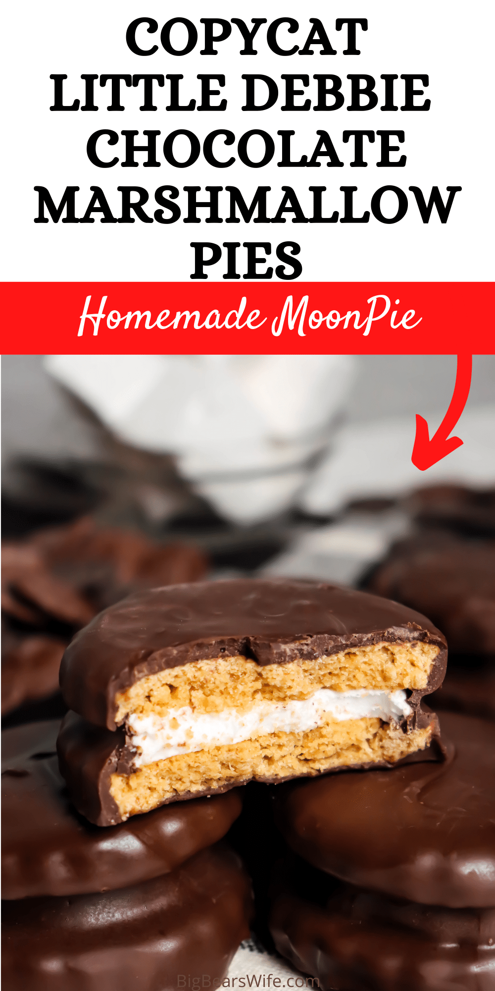 These Homemade Chocolate Marshmallow Pies are made to be just like the Little Debbie Chocolate Marshmallow Pies that you find in the grocery store! Only these might be even better! via @bigbearswife