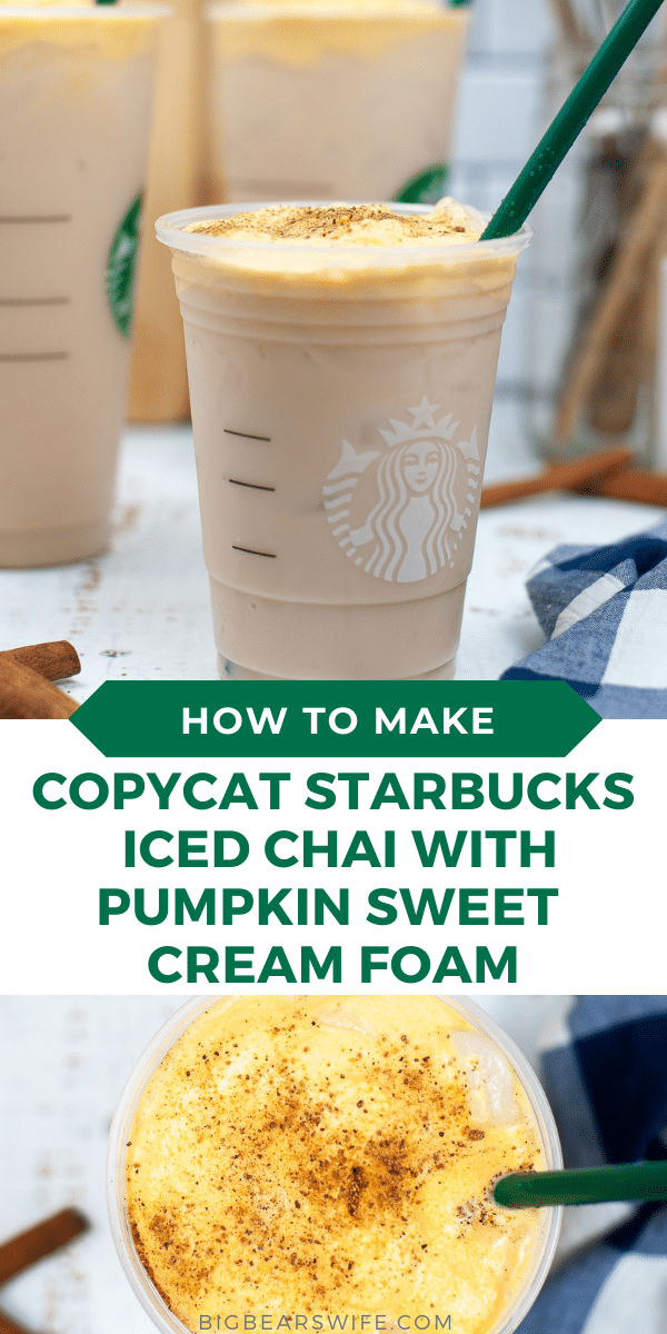 This Copycat Starbucks Iced Chai with Pumpkin Sweet Cream Foam is so easy to make and it's the perfect coffee house drink to make to make at home.  via @bigbearswife