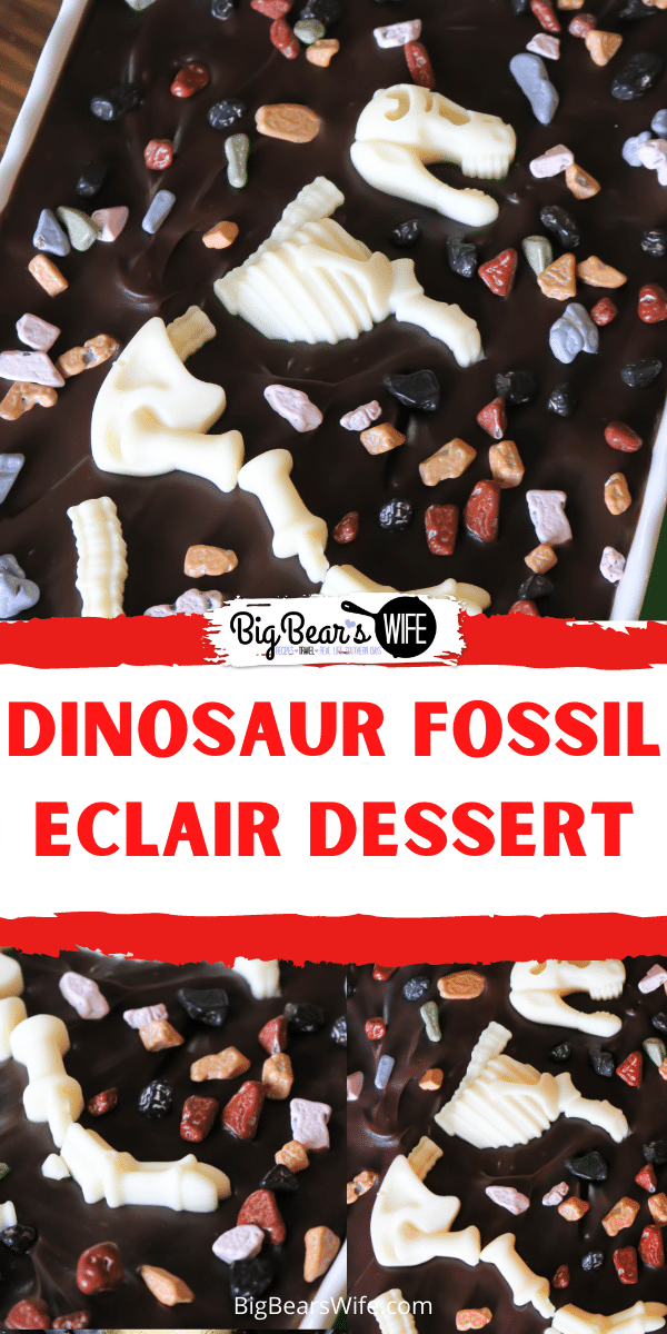 This fun dessert is prefect for a dinosaur birthday or just a cute dessert for anyone that loves dinosaurs! You'll love how easy this Dinosaur Fossil Eclair Dessert is to make! via @bigbearswife