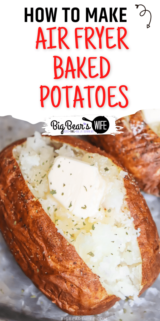 You're going to love these air fryer baked potatoes! The potato skins come out crisp but you still get that perfect fluffy baked potato center! Great with all of your favorite baked potato toppings like: butter, cheese, bacon or sour cream!