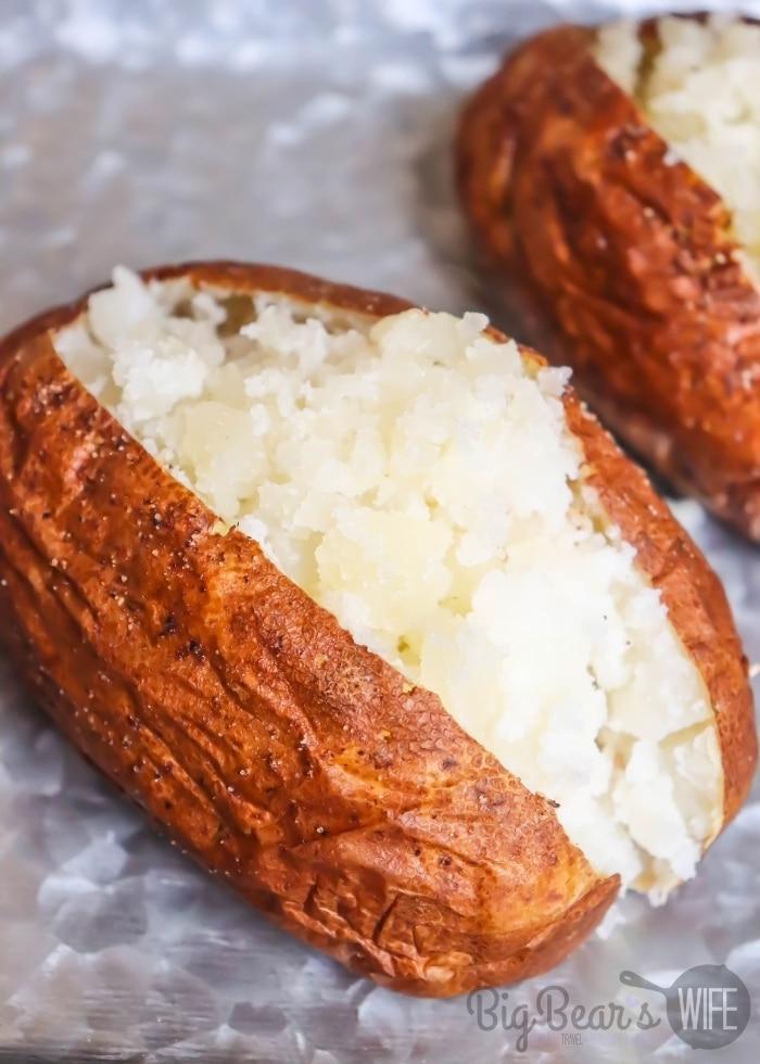air fried baked potato cut open
