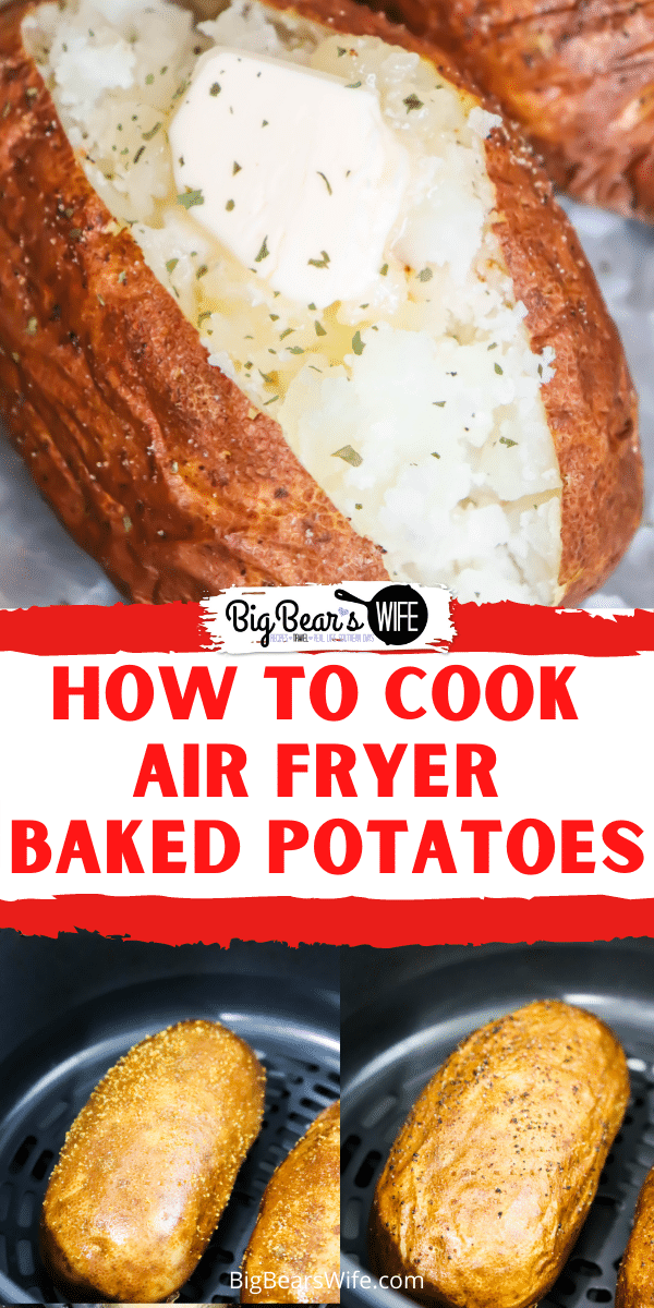 You're going to love these air fryer baked potatoes! The potato skins come out crisp but you still get that perfect fluffy baked potato center! Great with all of your favorite baked potato toppings like: butter, cheese, bacon or sour cream!  via @bigbearswife