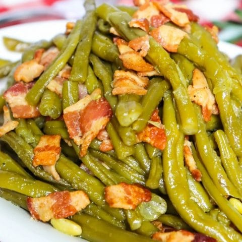 These Instant Pot Southern Green Beans taste just like slow cooked southern green beans but only take about 45 minutes in the Instant Pot instead of hours on the stove!