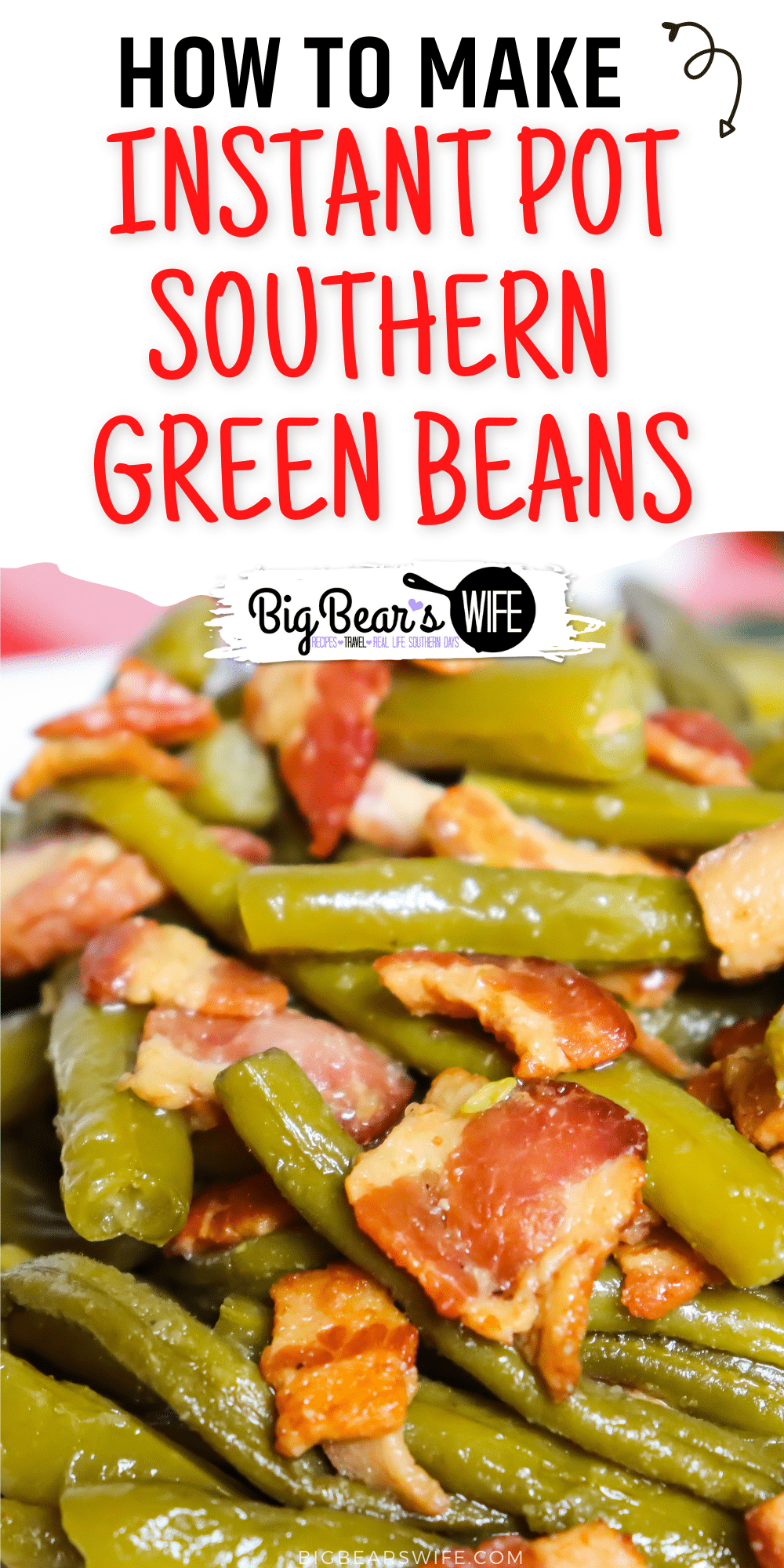These Instant Pot Southern Green Beans taste just like slow cooked southern green beans but only take about 45 minutes in the Instant Pot instead of hours on the stove! via @bigbearswife