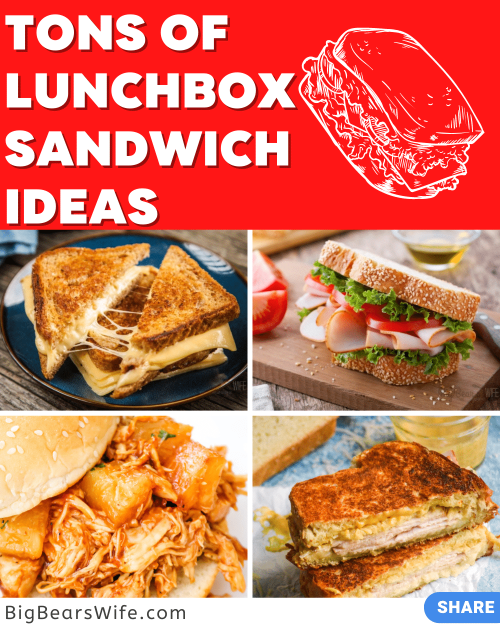 If you need to pack lunches for school or work this year, you're going to want these recipes, ideas and tips and tricks with all of these Lunchbox Sandwich Ideas! via @bigbearswife
