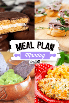 Welcome to this week's Meal Plan Monday! So many awesome recipes to help with meal planning this week! We're featuring recipes like, S'mores Cobbler, The Best Guacamole Ever, Jalapeño Popper Chicken, Roast Beef Crostini, and Homemade Chocolate Marshmallow Pies