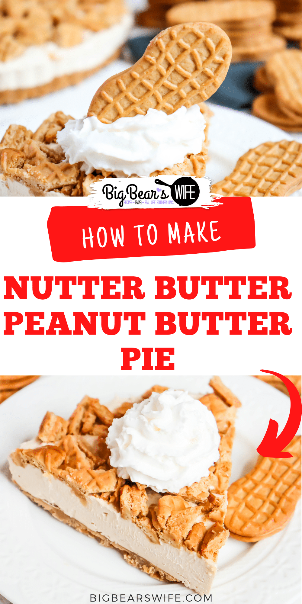 This pie is what peanut butter lovers dream about! Homemade Nutter Butter Peanut Butter pie is packed with peanut butter and has a Nutter Butter crust and topping! via @bigbearswife