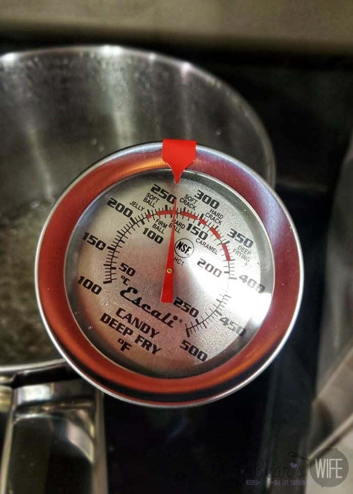 candy thermometer at 260F