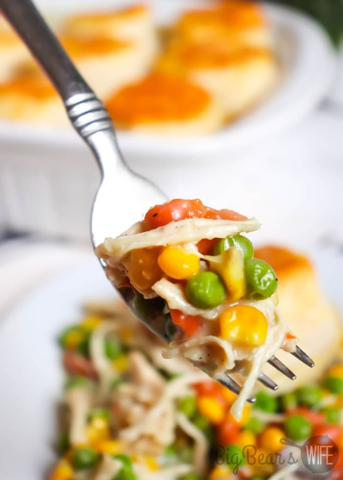 A bite of Biscuit Topped Chicken Pot Pie