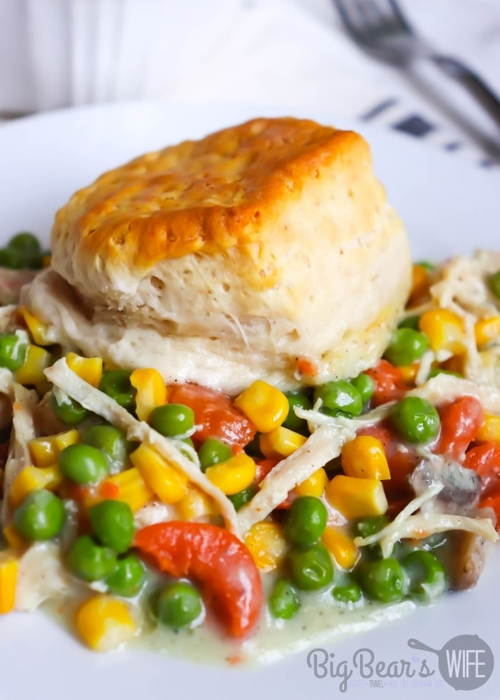 A serving of Biscuit Topped Chicken Pot Pie