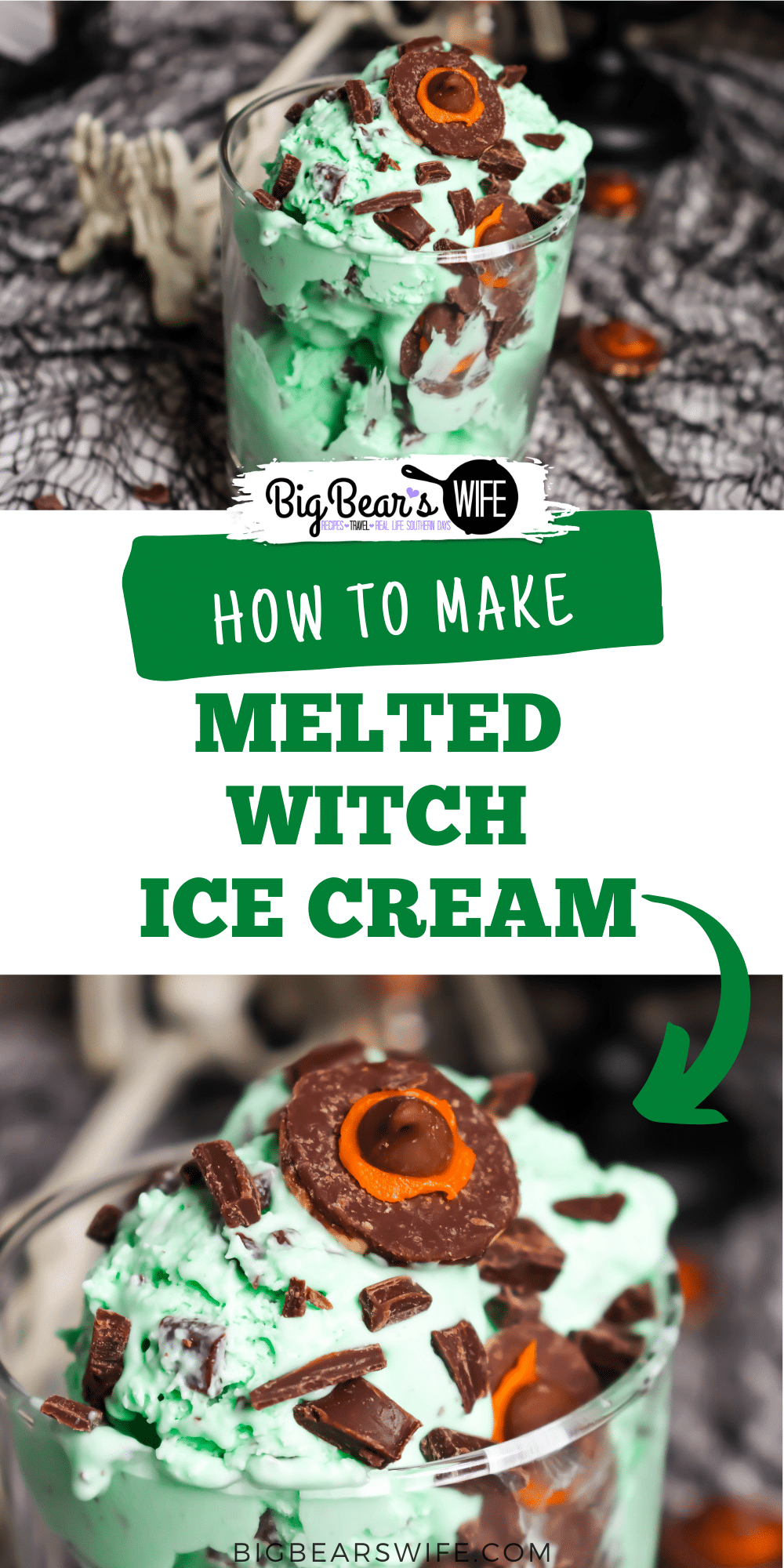 Melted Witch Ice Cream - a homemade, creamy mint chocolate chip ice cream that is perfect for Halloween because it is topped with mini cookie witch hats!  via @bigbearswife