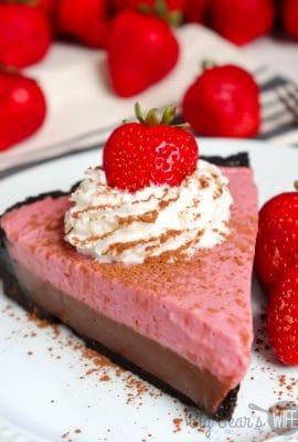 SLICE OF CHOCOLATE STRAWBERRY CREAM PIE ON WHITE PLATE (3)